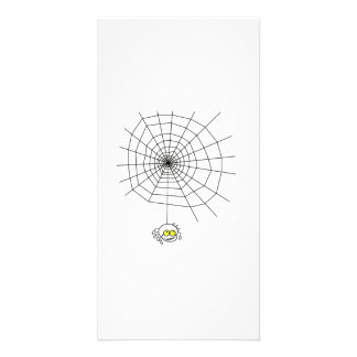Cartoon Spider Hanging from Web Custom Photo Card