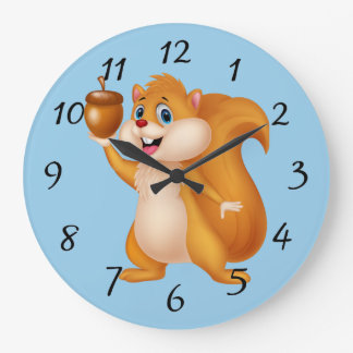 Cartoon Squirrel with Acorn Large Clock