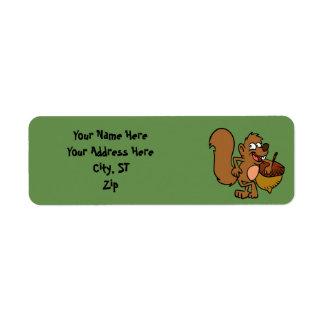 Cartoon squirrel with nut return address label