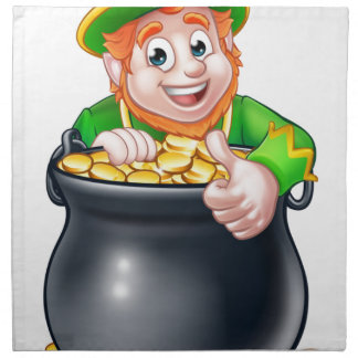 Cartoon St Patricks Day Leprechaun and Pot of Gold Napkin