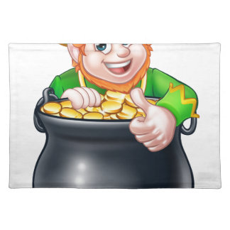Cartoon St Patricks Day Leprechaun and Pot of Gold Placemat