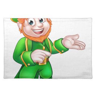 Cartoon St Patricks Day Leprechaun Pointing Placemat