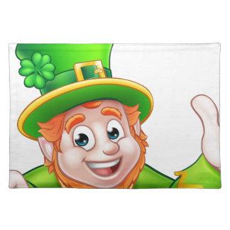 Cartoon St Patricks Day Leprechaun Top of Sign Placemat