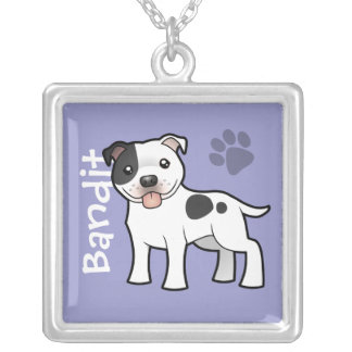 Cartoon Staffordshire Bull Terrier (add pets name) Silver Plated Necklace