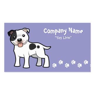Cartoon Staffordshire Bull Terrier Business Card Templates
