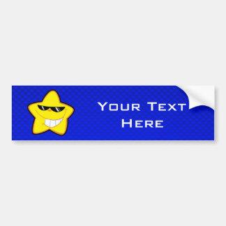 Cartoon Star; Blue Car Bumper Sticker