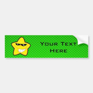 Cartoon Star; Green Car Bumper Sticker