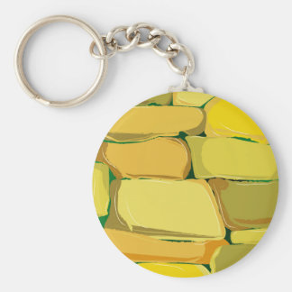 Cartoon Stone Wall Basic Round Button Key Ring