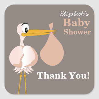 Cartoon Stork Baby Shower Sticker
