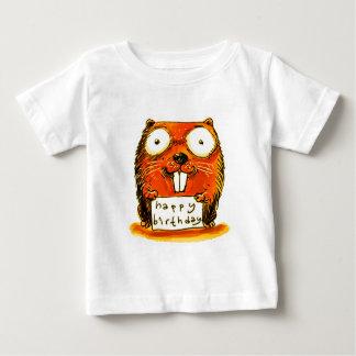 cartoon style beaver holds happy birthday message baby T-Shirt
