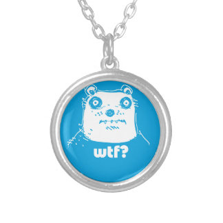 cartoon style blue bear silver plated necklace