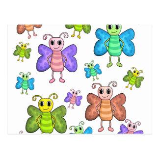 Cartoon style butterflies postcard