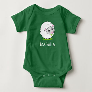 Cartoon style cute and cuddly white woolly sheep, baby bodysuit