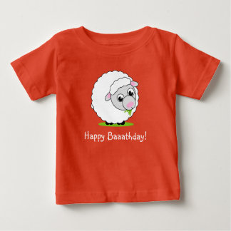 Cartoon style cute and cuddly white woolly sheep, baby T-Shirt