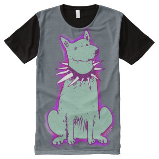 cartoon style dog light green popart design All-Over print T-Shirt