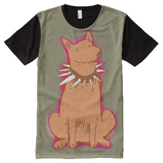 cartoon style dog popart brown All-Over print T-Shirt