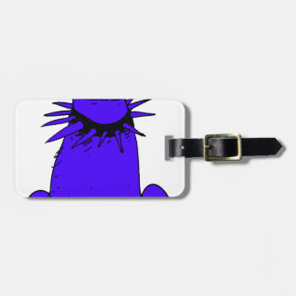 cartoon style dog pure blue luggage tag