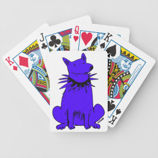 cartoon style dog pure blue poker deck