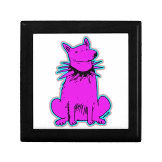 cartoon style dog pure purple small square gift box
