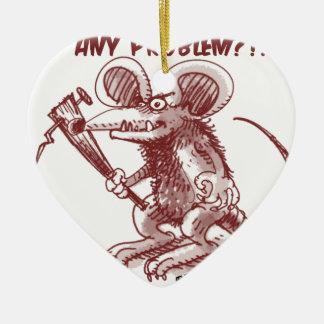 cartoon style illustration angry rat any problem ceramic heart decoration