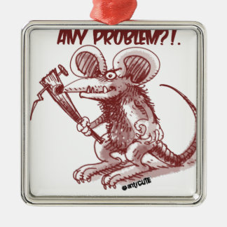 cartoon style illustration angry rat any problem Silver-Colored square decoration