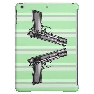 Cartoon style illustration of two handguns