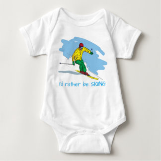 Cartoon Style Rather Be Skiing Illustration Baby Bodysuit