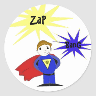 Cartoon Super Hero Character Round Sticker