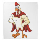 Cartoon super rooster posing bandana