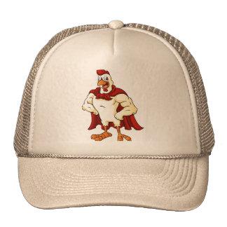 Cartoon super rooster posing cap