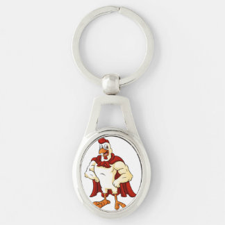 Cartoon super rooster posing Silver-Colored oval key ring