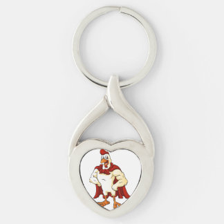 Cartoon super rooster posing Silver-Colored twisted heart key ring