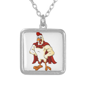 Cartoon super rooster posing silver plated necklace