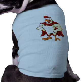 Cartoon super rooster posing sleeveless dog shirt