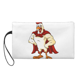 Cartoon super rooster posing wristlet purses