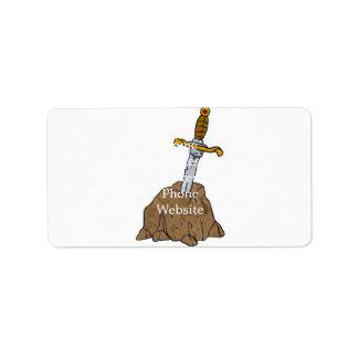 cartoon sword in stone address label