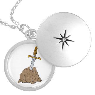 cartoon sword in stone locket necklace