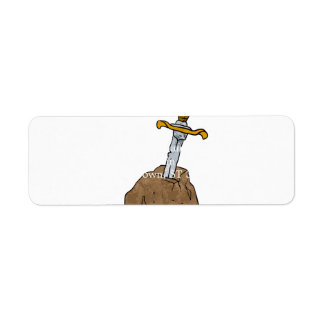 cartoon sword in stone return address label
