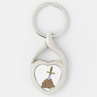 cartoon sword in stone Silver-Colored twisted heart key ring