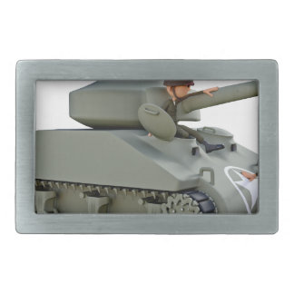 Cartoon Tank and Soldiers at Ease Belt Buckle