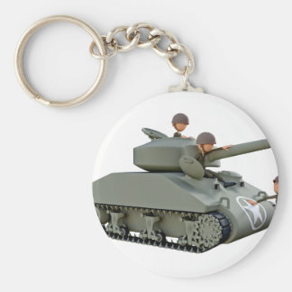 Cartoon Tank and Soldiers at Ease Key Ring