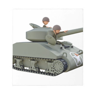 Cartoon Tank and Soldiers at Ease Notepad
