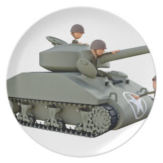 Cartoon Tank and Soldiers at Ease Party Plate