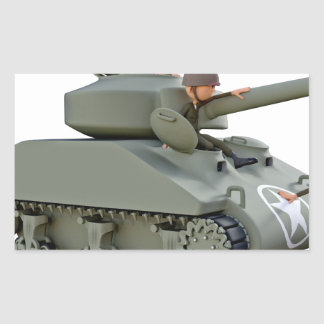 Cartoon Tank and Soldiers at Ease Rectangular Sticker