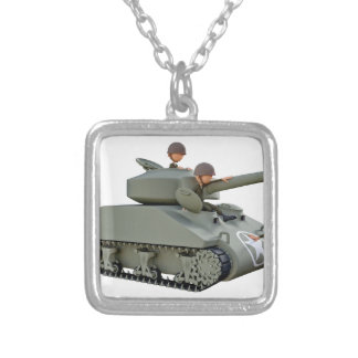Cartoon Tank and Soldiers at Ease Silver Plated Necklace