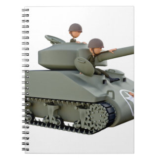 Cartoon Tank and Soldiers at Ease Spiral Notebook