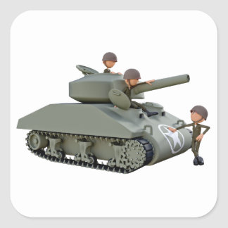 Cartoon Tank and Soldiers at Ease Square Sticker