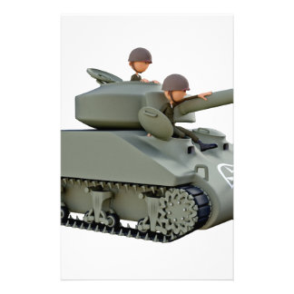 Cartoon Tank and Soldiers at Ease Stationery