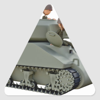 Cartoon Tank and Soldiers at Ease Triangle Sticker