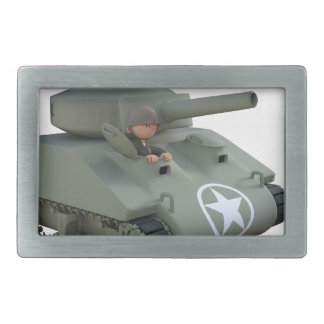 Cartoon Tank and Soldiers Going Forward Belt Buckle